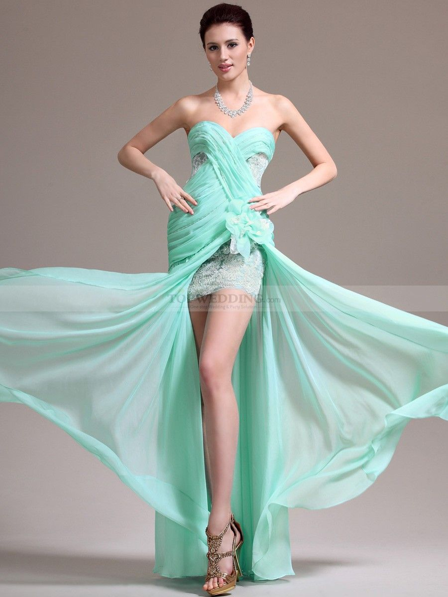 Strapless Lace and Chiffon Prom Dress with Mini Skirt and Sheer Overlay
