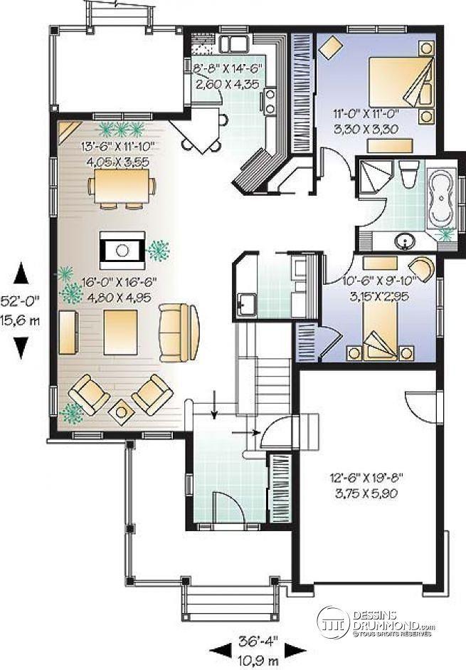Plan de Rez-de-chaussée Plain-pied Transitionnel à aire ouverte, 2 - plan petite maison plain pied