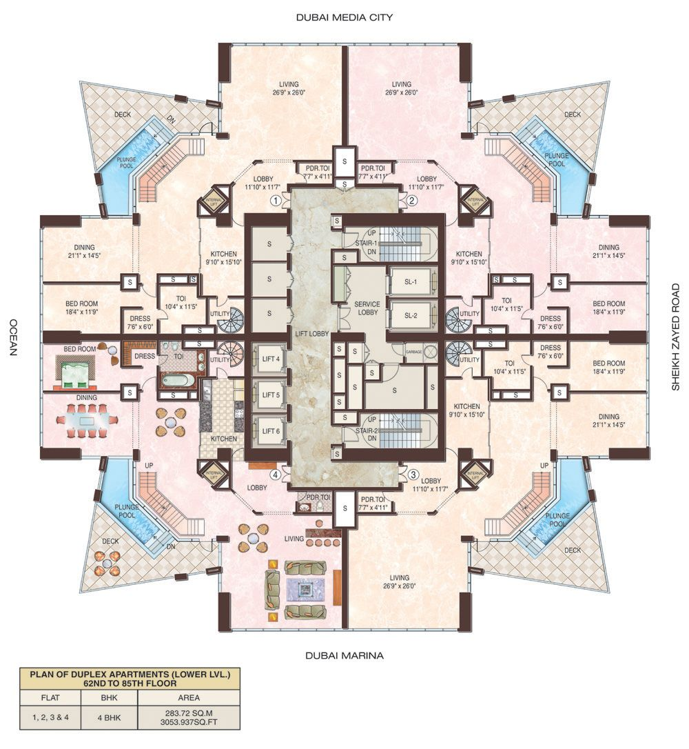 Marina Blue Floor Plans: 23 Dubai Marina Duplex Floor 1 Floors 62-85