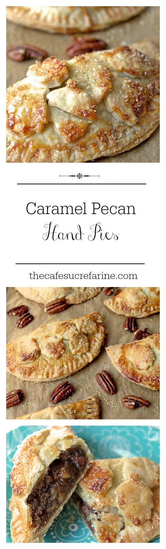 Caramel Pecan Hand Pies : für die Füllung:  160g Pecanüsse 250g Zucker 85g Butter 150g süße Sahne (flüssig) Vanille-Extrakt (nach Belieben) 1 Prise Salz 5 Eier  etwas braunen Zucker zum drübersprenkeln