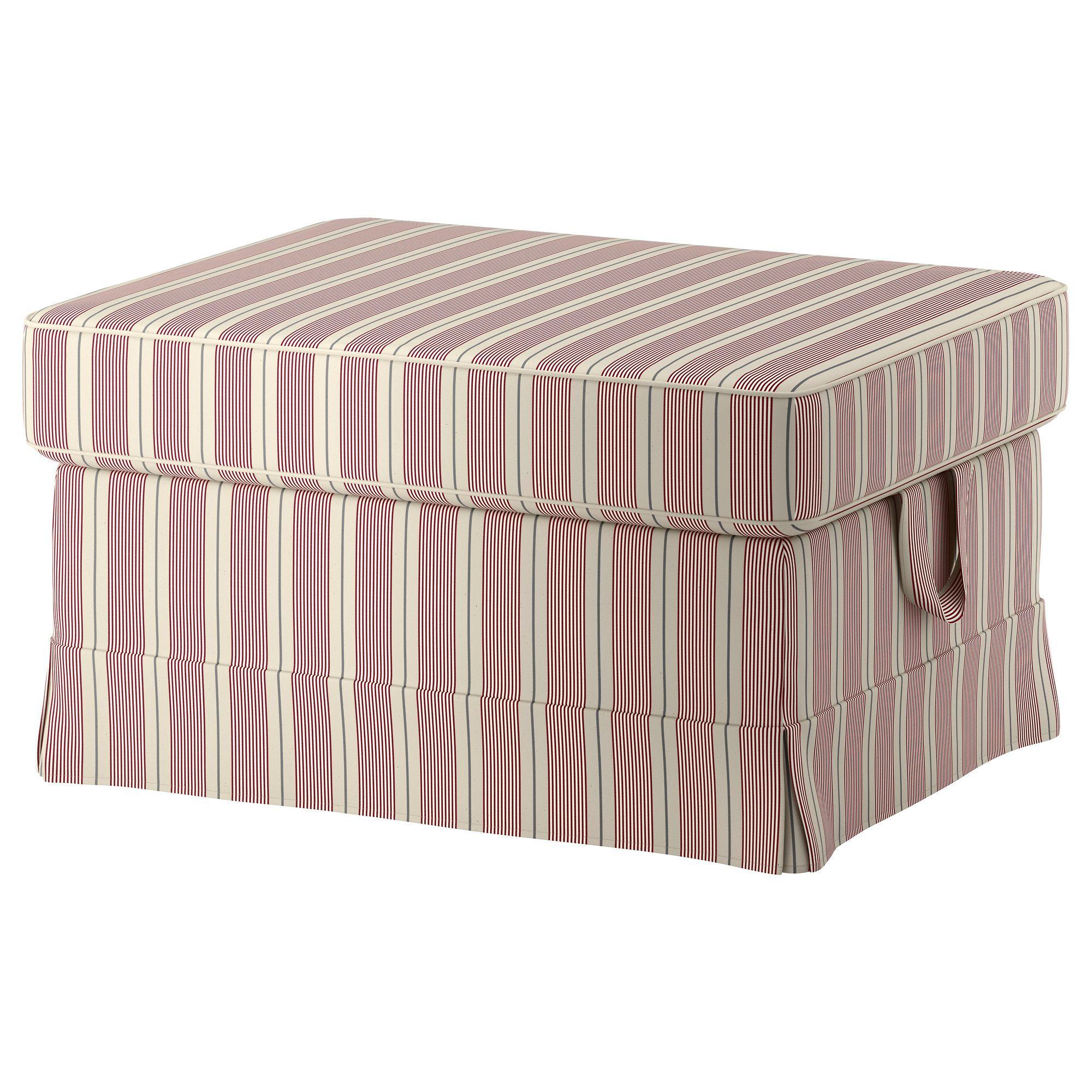 EKTORP Footstool - Mobacka beige/red - IKEA