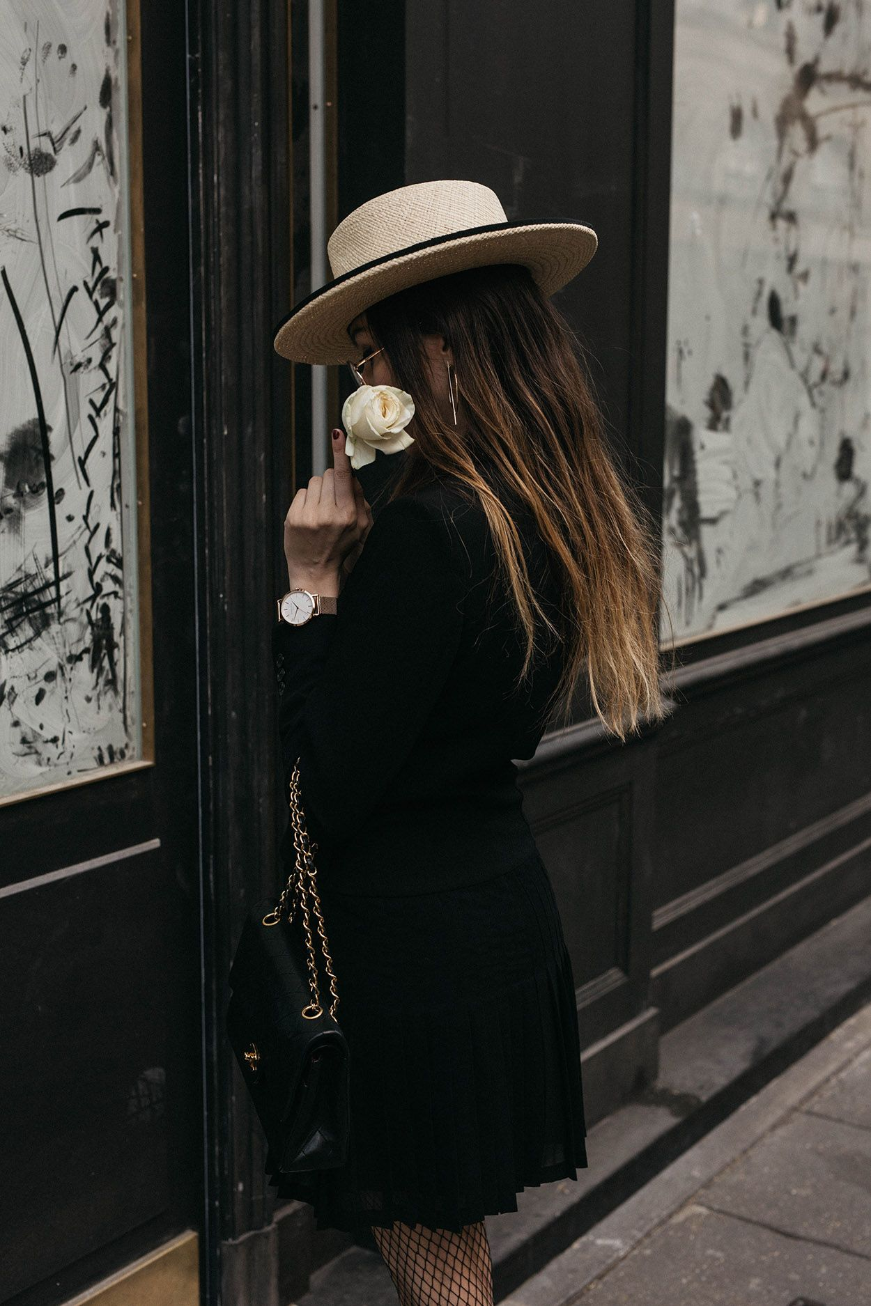 8604959c Chanel inspired editorial the kooples black tuxedo dress with chanel  classic flap bag fishnet tights and straw hat with black flower chic outfit  parisian ...