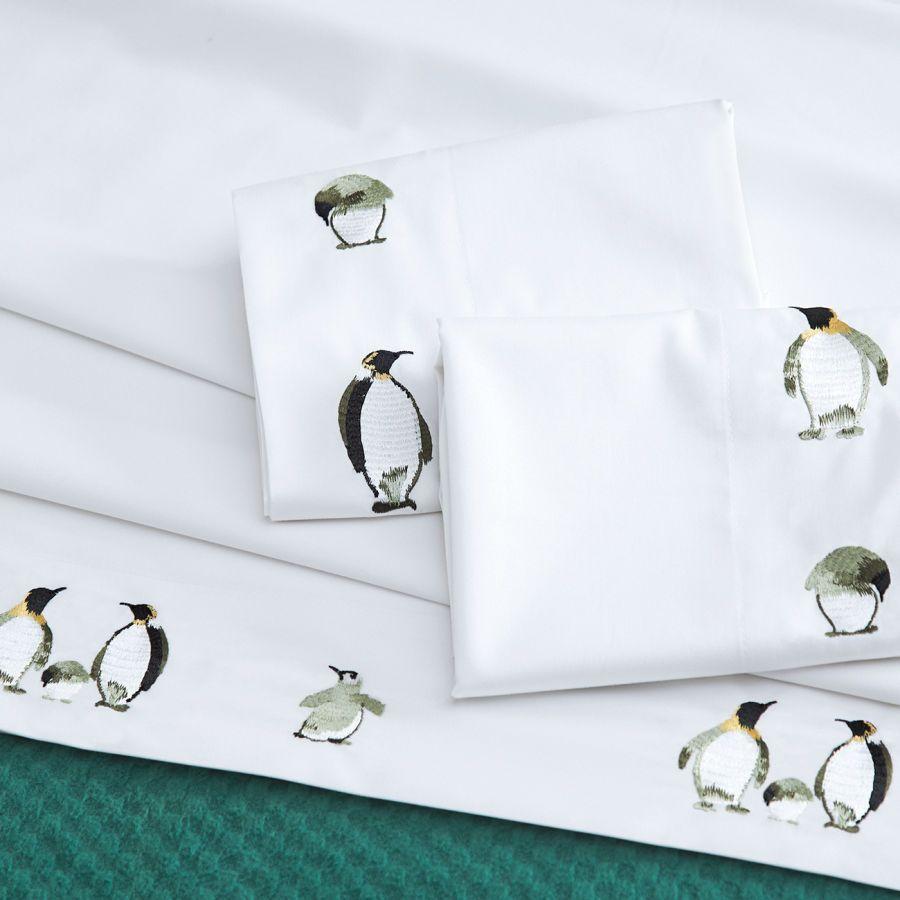 Embroidered Penguins Sateen Flat Sheet