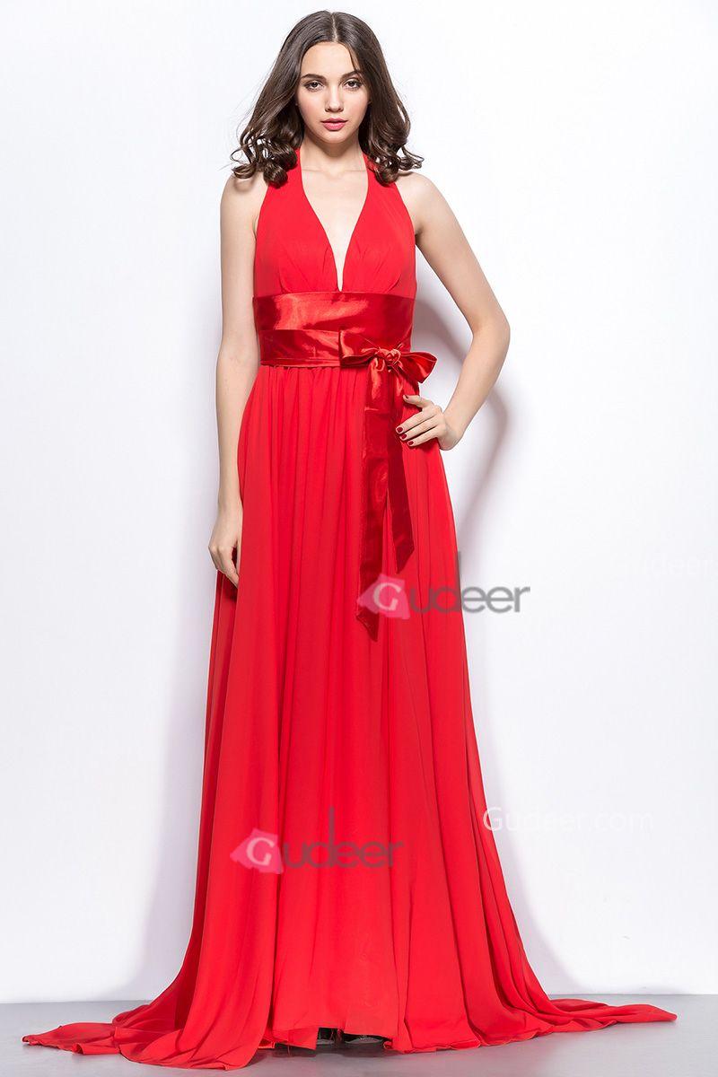 Red halter v neck long chiffon evening dress promdresses