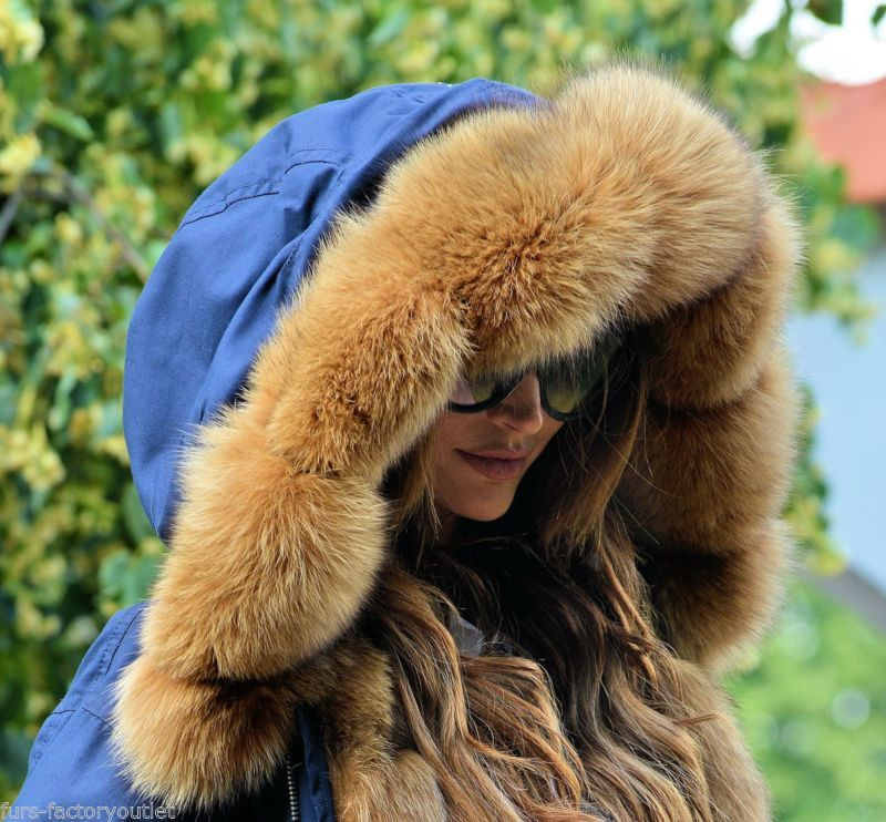 New 2016 navy blue military parka coat fox fur clas sable mink ...