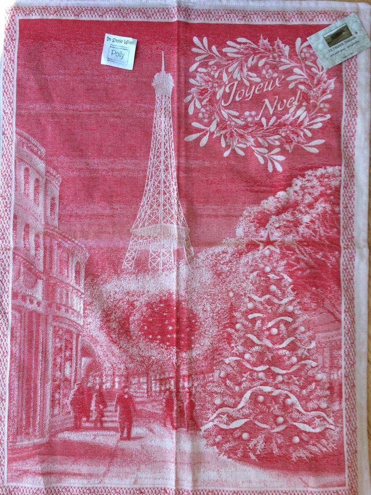 Le Telerie Toscane Italy Jacquard Cotton Kitchen Tea Towel Red