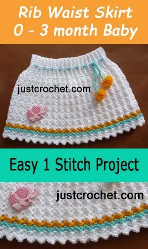 Free Baby Crochet Pattern For Ribbed Waist Skirt Design Crochet