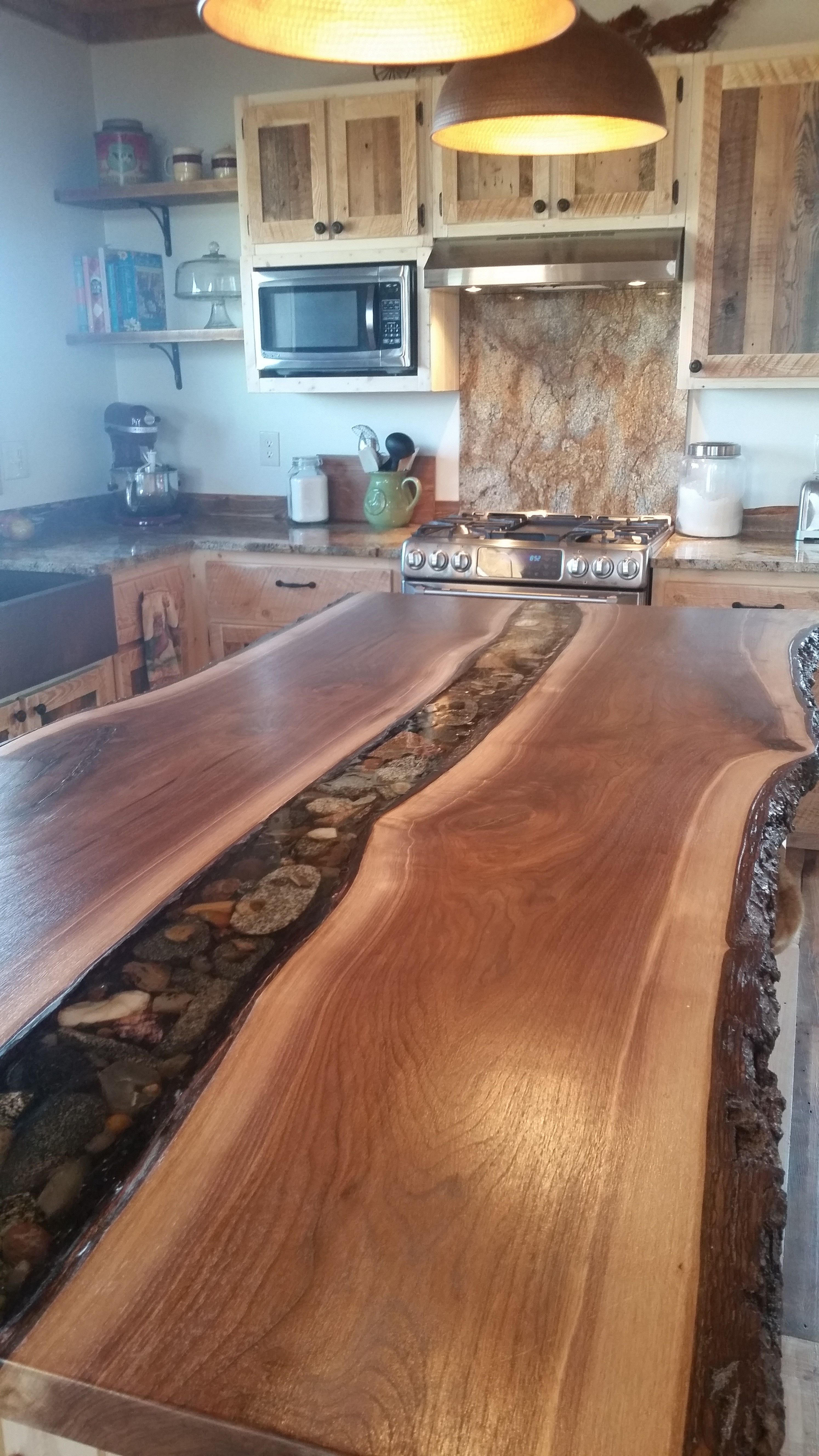 Rustic Kitchen Island Live Edge Walnut Slab With River Rock By