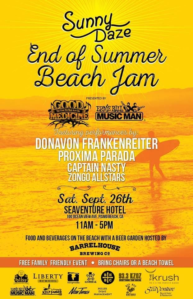 Come celebrate the End of Summer with your toes in the sand at the SeaVenture Resort & Restaurant's Beach Concert on September 26th! Donavon Frankenreiter will be heading this beach party with Próxima Parada, Captain Nasty, and the Zongo All-Stars.   Come enjoy an amazing afternoon of music! Food and Drinks will be available with a Beer Garden by BarrelHouse Brewing Company! It's the perfect way to say farewell to summer with sand, sun, music, drinks and fun!
