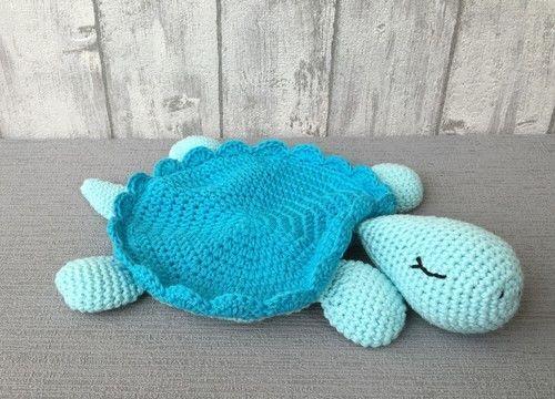 Häkelanleitung für ein Schmusetuch in Form einer Schildkröte Auf 10 ...