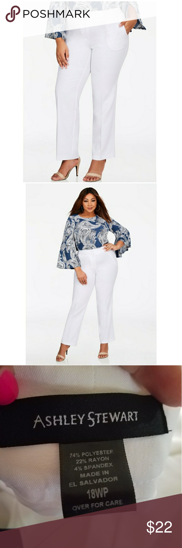 dfebc8f5a3ecf NWT Ashley Stewart Straight Leg White Pants Ashley Stewart straight legged  plus size petite white pants. Never worn. Ashley Stewart Pants Straight Leg