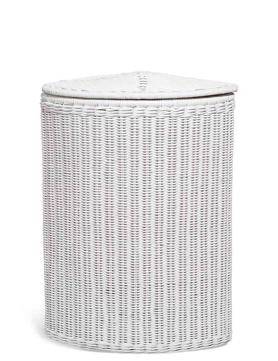 White Rattan Corner Basket M S Corner Laundry Basket Laundry