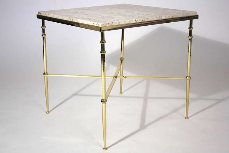 Brass and Travertine Side Table image 5