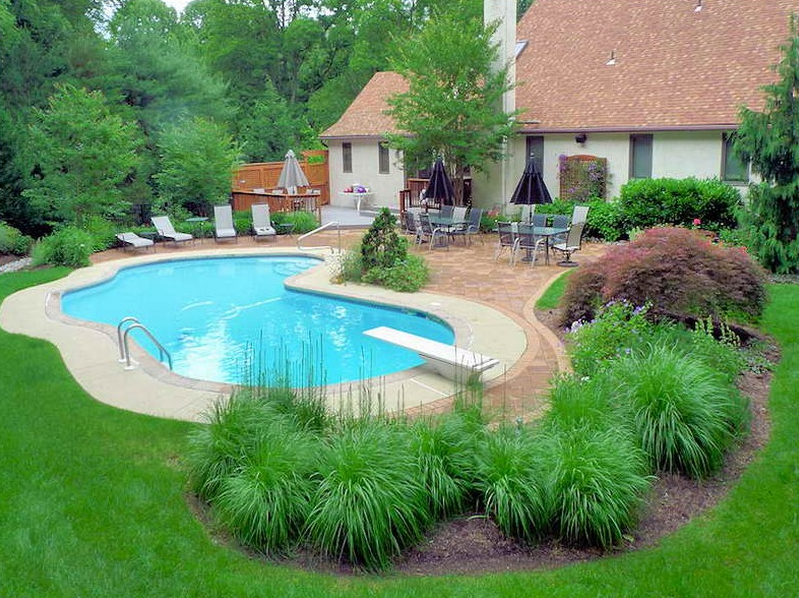 Nice idea for inground pool landscaping the best for Backyard inground pool designs