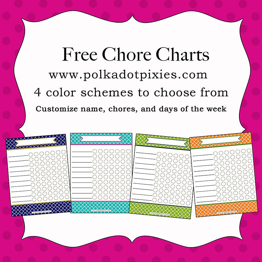 Polka Dot Pixies Free Customizable Chore Chart  Different