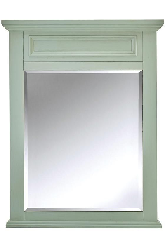 home decorators collection sadie 28 in w x 36 in h single framed wall mirror in antique light cyan 9673600350 the home depot