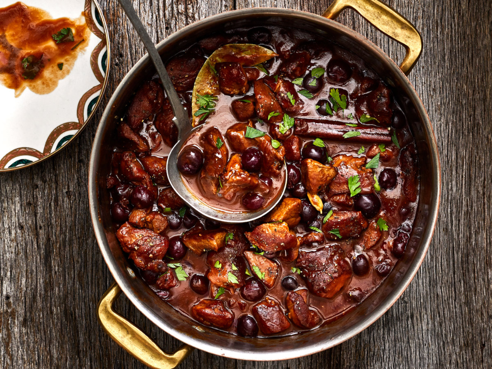 Oven Braised Veal Stew With Black Pepper And Cherries Recipe In 2020 Veal Recipes Veal Stew Wine Recipes