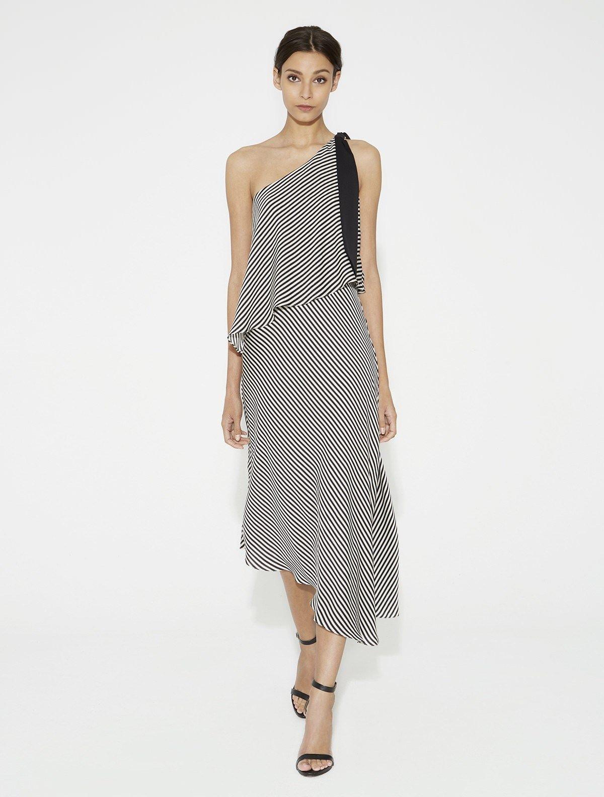 One Shoulder Striped Flowy Dress | Cocktail Hour | Pinterest | Shoulder