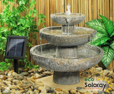 Hatfield Cascade Three Tier Fountain Solar Water Feature H42cm By Solaray Solar Fountain Garden Water Fountains Indoor Fountain