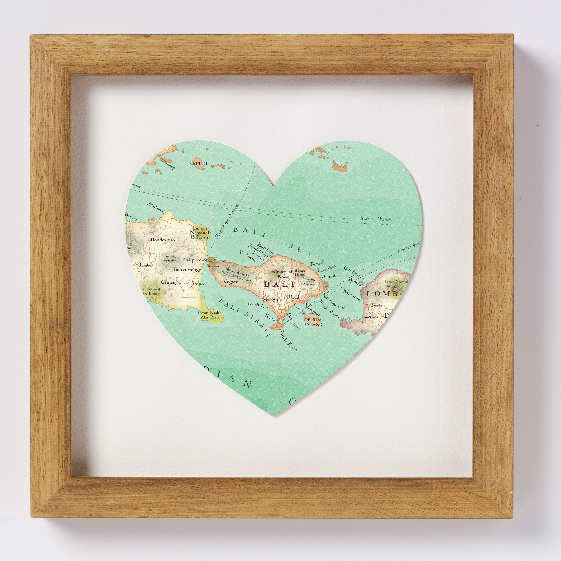 Bali Map Watercolor Print Indonesia Map Travel Art Honeymoon Gift Map Love Art