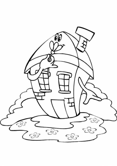 сказочный домик раскраска для малышей высыпаем кулек измельчаем