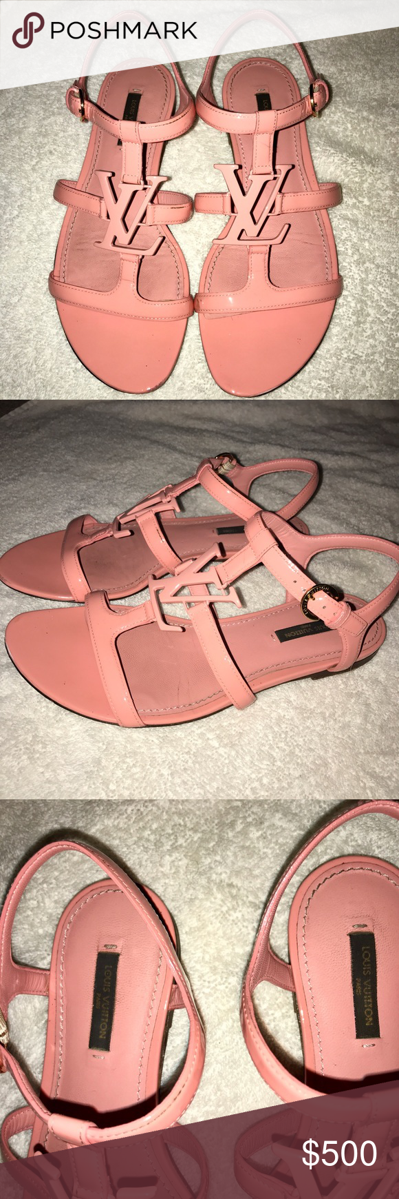 33fc42835fdb8 paradiso sandal in pink Louis Vuitton These beautiful pink sandals are a  regular size women s 8 few minor flaws as seen in the photos Louis Vuitton  Shoes ...