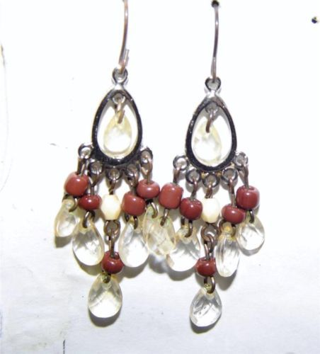 Beautiful SilverTone Beaded Dangle Earrings w/Clear,White,Brownish red beads JA9