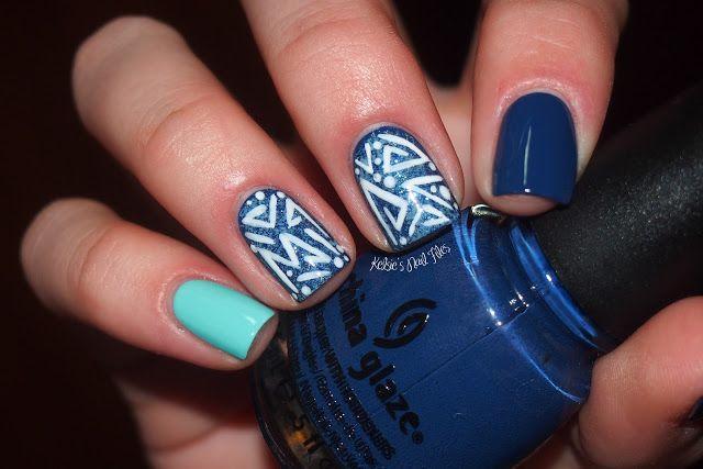 Geometric blue nails