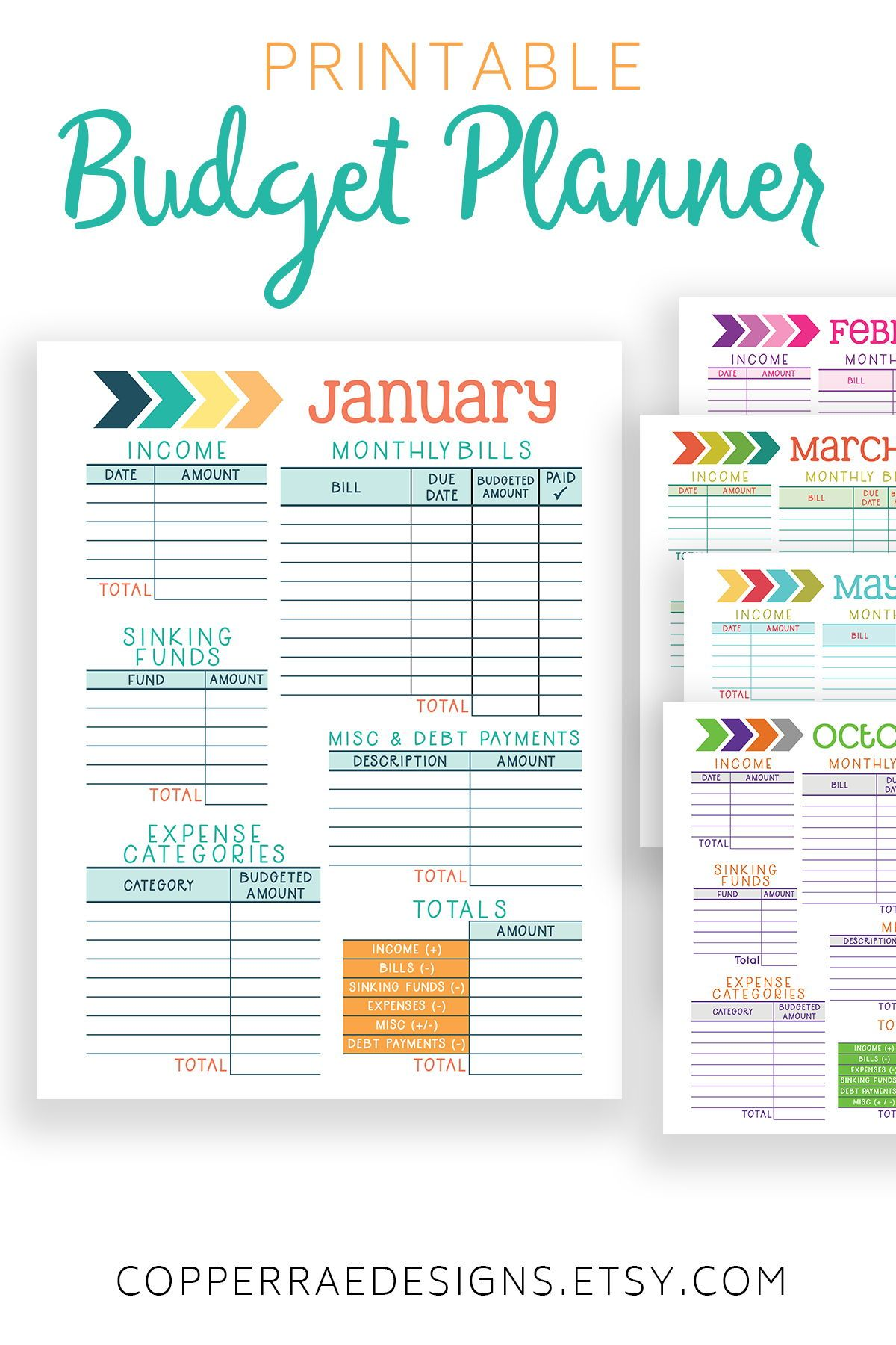 Printable Financial Planner Monthly Budget Worksheet