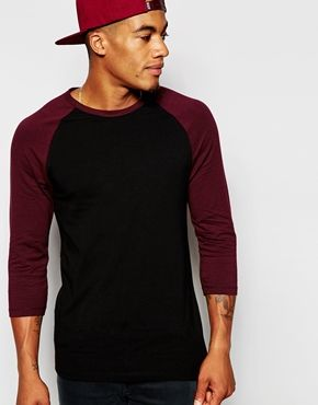 ASOS Muscle 3/4 Sleeve T-Shirt With Contrast Raglan Sleeve In Black