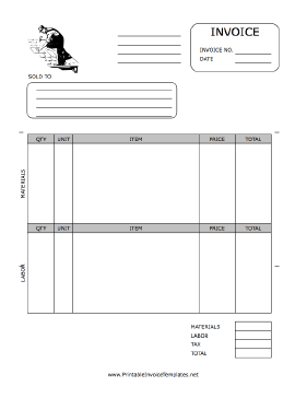 A Printable Invoice For Use By A Roofing Company Featuring A