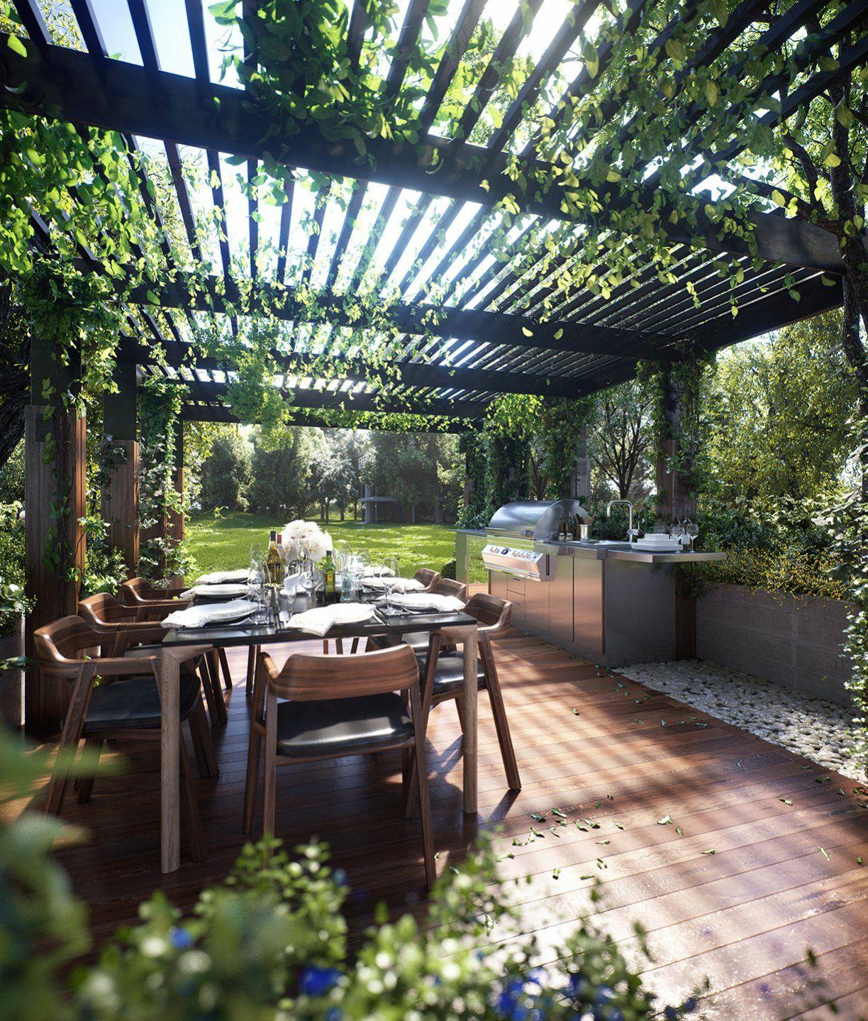outdoor essbereich, beschattet durch eine grün bewachsene pergola, Gartengerate ideen