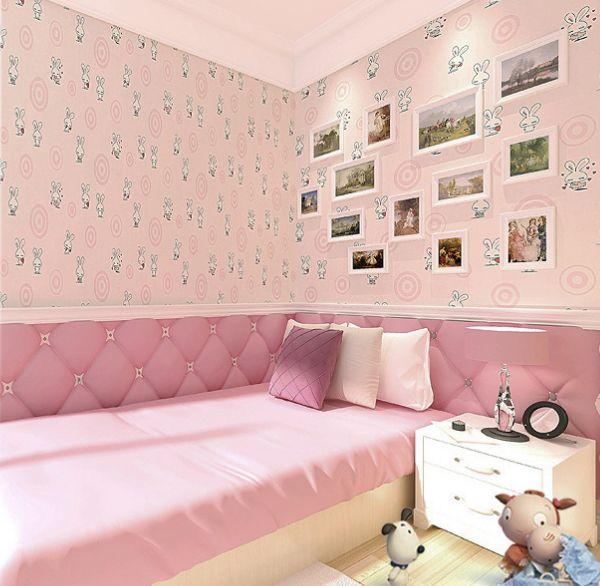 Non Woven Wallpaper Circle Cute Pink Bunny Child Boy Cartoon Children S Room Bedroom Wallpaper Room Wallpaper Designs Wallpaper Bedroom Room Wallpaper