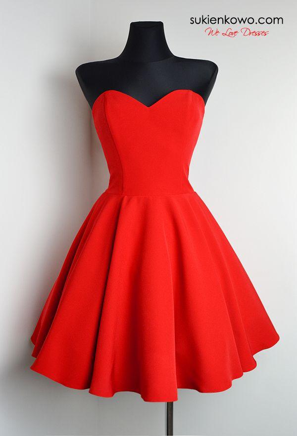 Menrin Rozkloszowana Gorsetowa Sukienka Czerwona Red Dresses Classy Cute Red Dresses Short Dresses