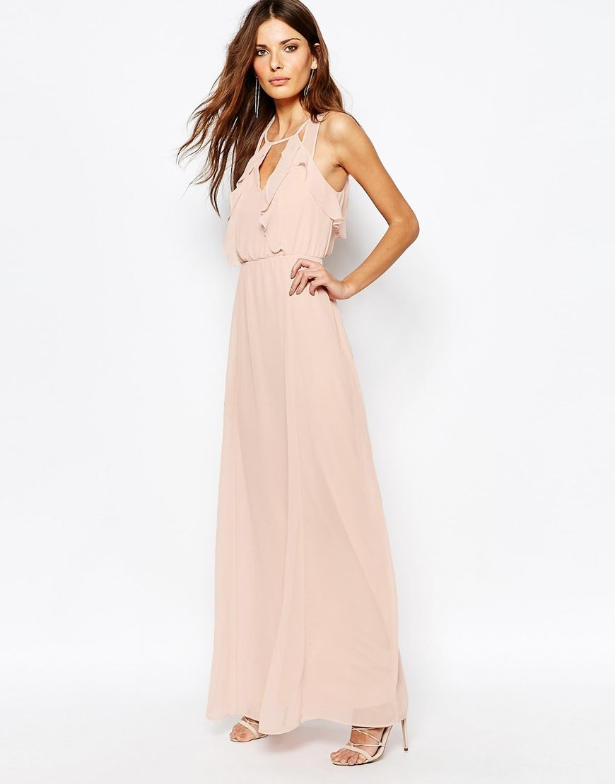 Image 1 of BCBGeneration Ruffle Front Maxi Dress in Rose Smoke ...