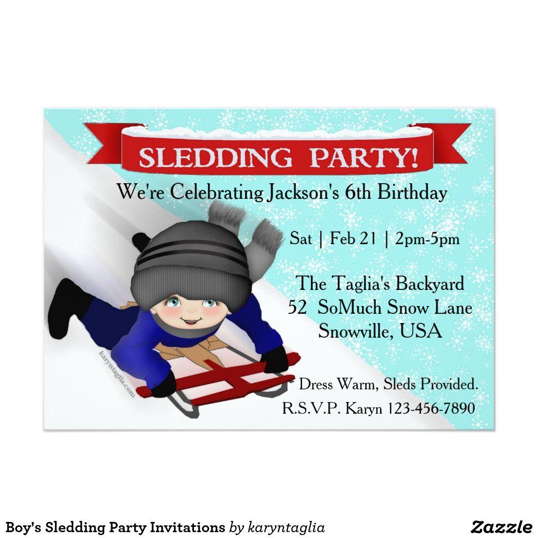 Boy\'s Sledding Party Invitations | Party invitations, Kids ...