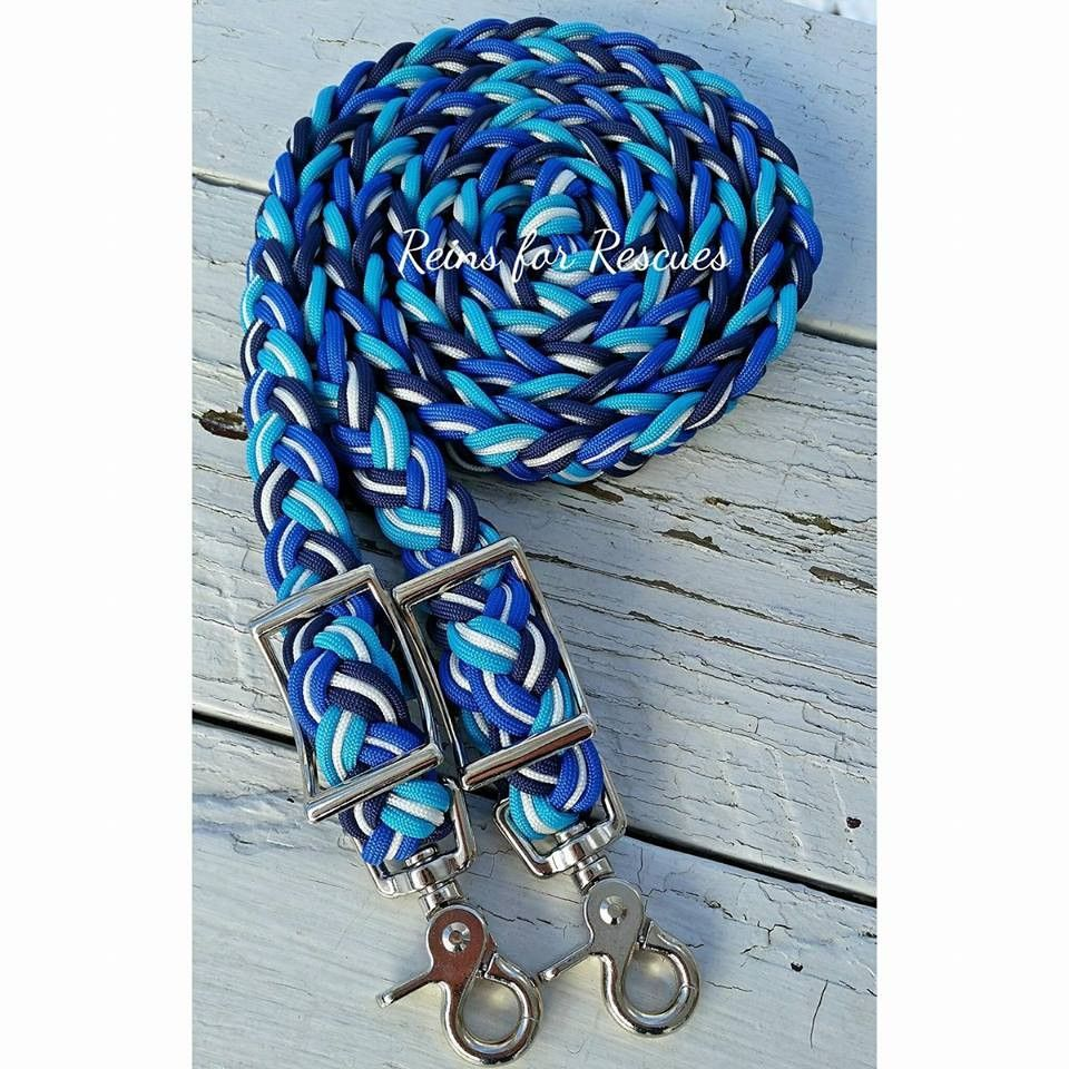 """""""Cool Blue"""" Navy & Royal Blue, Turquoise & White Adjustable Riding Reins"""