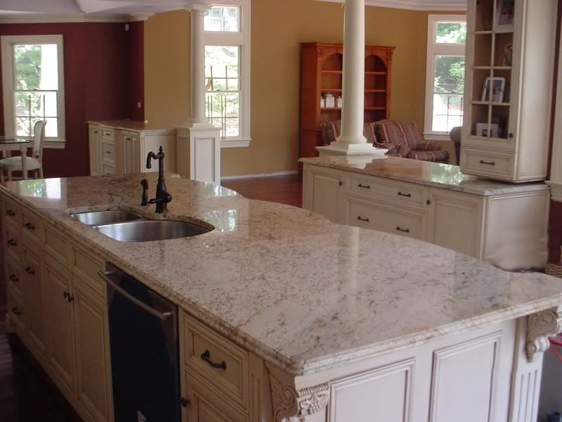 Granite colors for white cabinets pictures white for Kitchen designs in kashmir