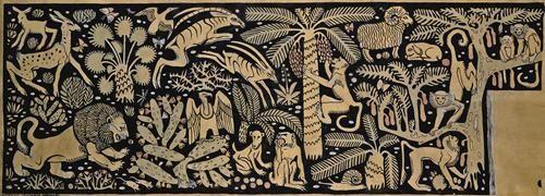 Ludwig Heinrich Jungnickel ,Frieze Paradies der Tiere