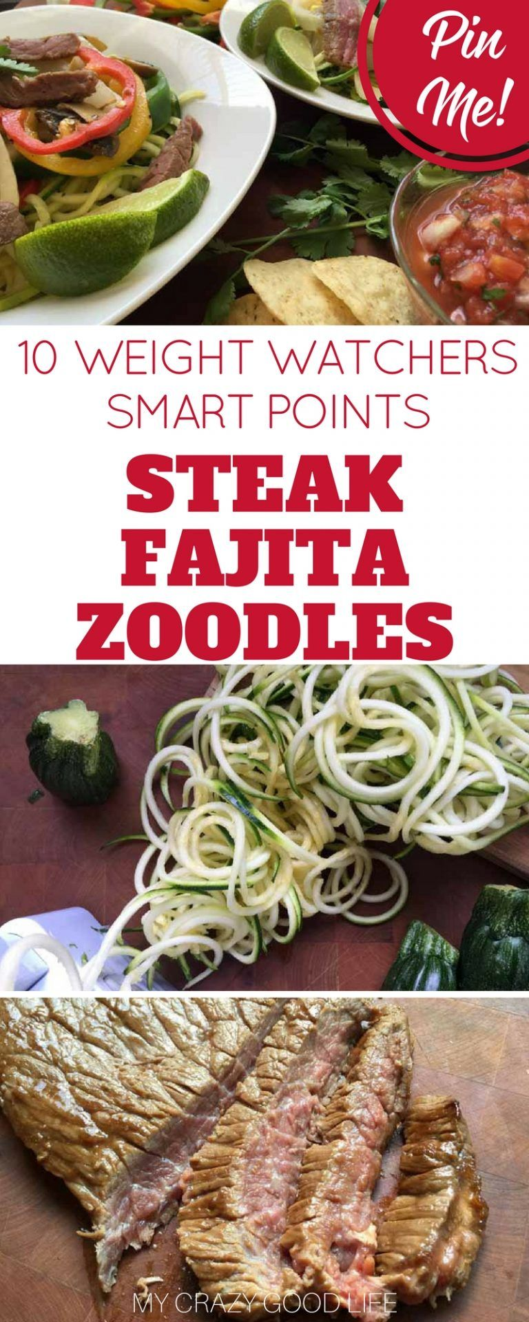 10 Weight Watchers Smart Points Steak Fajita Zoodles are great for dinner or parties. The whole family can build their perfect fajita bowl!