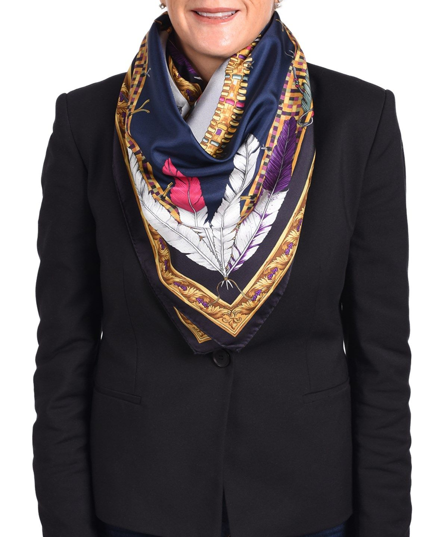 Versace versace womenus native american feather pattern silk scarf