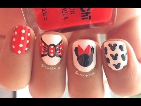 Disney minnie mouse inspired nail art cute easy youtube disney minnie mouse inspired nail art cute easy youtube prinsesfo Images