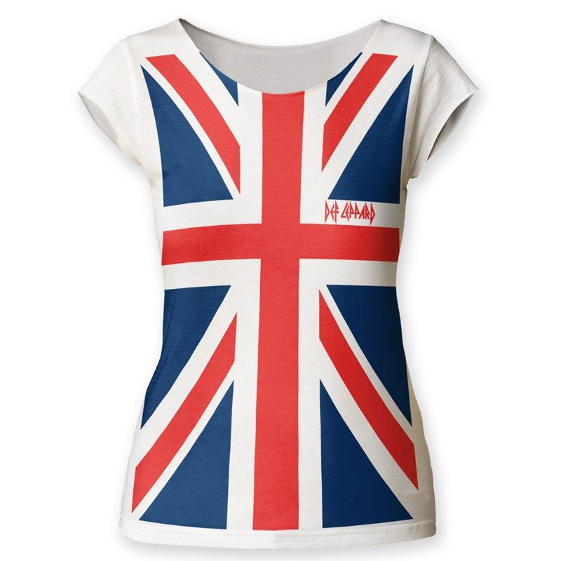 c208f08d5519 Def Leppard - Womens Union Jack Cut T-Shirt | band merch | Band Tees ...