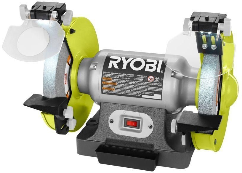 Rybobi 8 In Dual Wheel Chorded Stationary Bench Grinder W