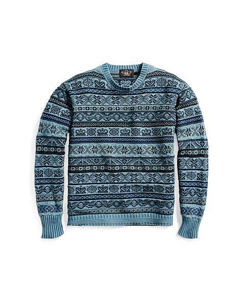 Indigo Military Cotton Sweater - RRL Crewneck - RalphLauren.com