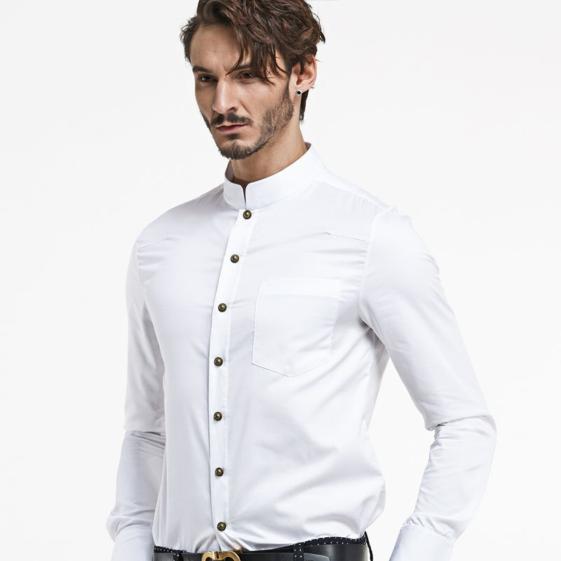 Modern mandarin collar snap button shirt white chinese for Mens shirts with snaps instead of buttons
