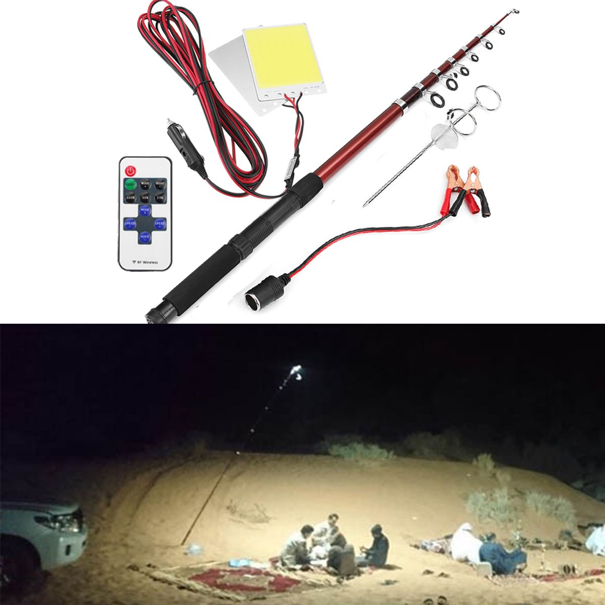 12v 2 96w Telescopic Fishing Lamp Car Rod Light Led Camping Lamp Remote Controller Car Lantern Fishing Hunting From Sports Outdoor On Banggood Com Camping Lamp Led Lights Led Lantern Lights