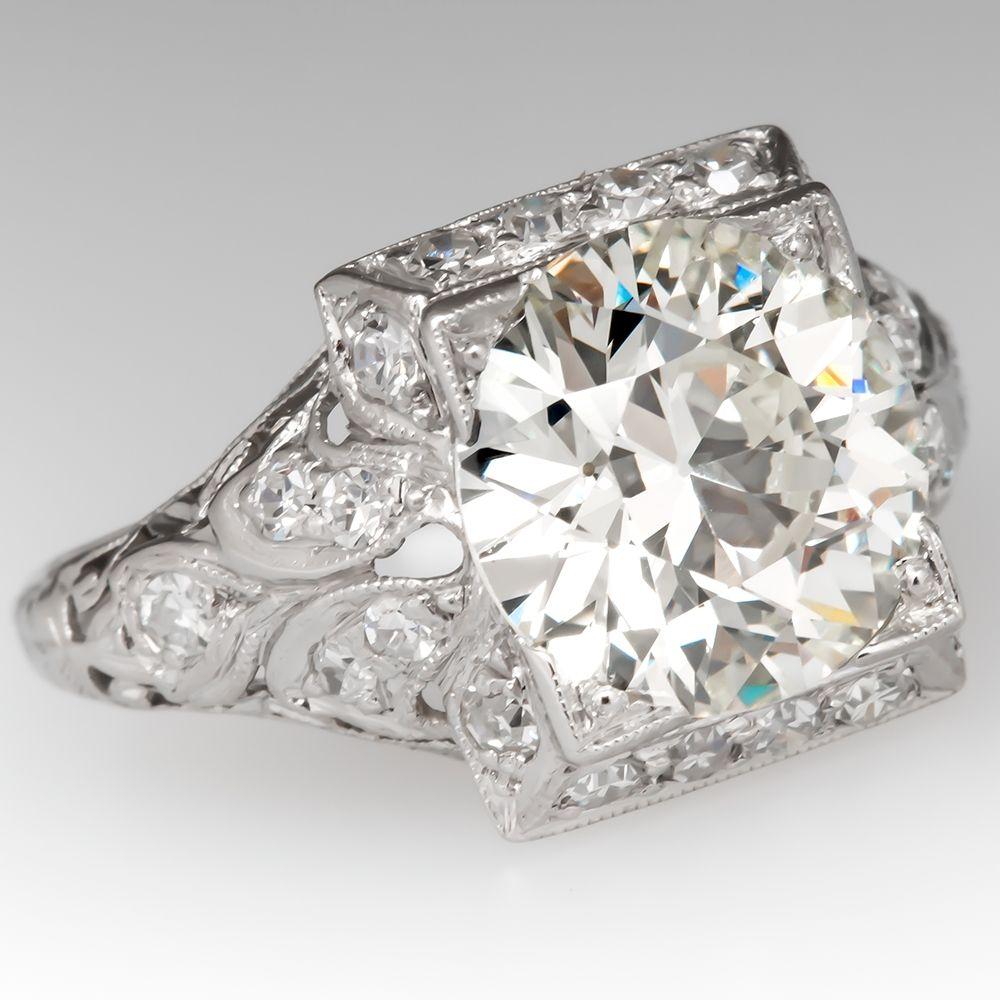 Filigree Art Deco Engagement Ring 2 7 Carat Old Euro Diamond Antique Engagement Rings Vintage Vintage Engagement Rings Antique Engagement Ring Art Deco