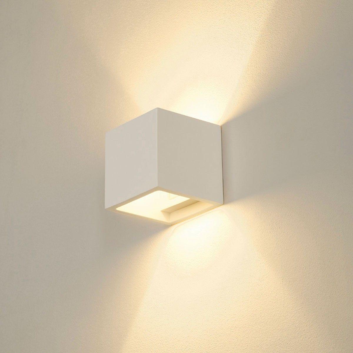 Plastra Cube Wandleuchte Eckig Weisser Gips G9 Max 42w Indirekte Beleuchtung Wandleuchte Beleuchtung Wohnzimmer