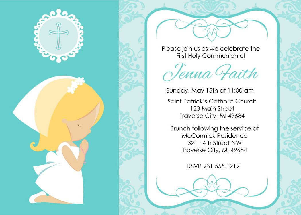 Girl Praying First Communion Invitations First Communion